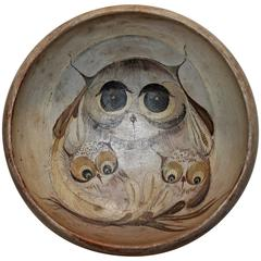 19th Century Original Painted Bowl with Owls