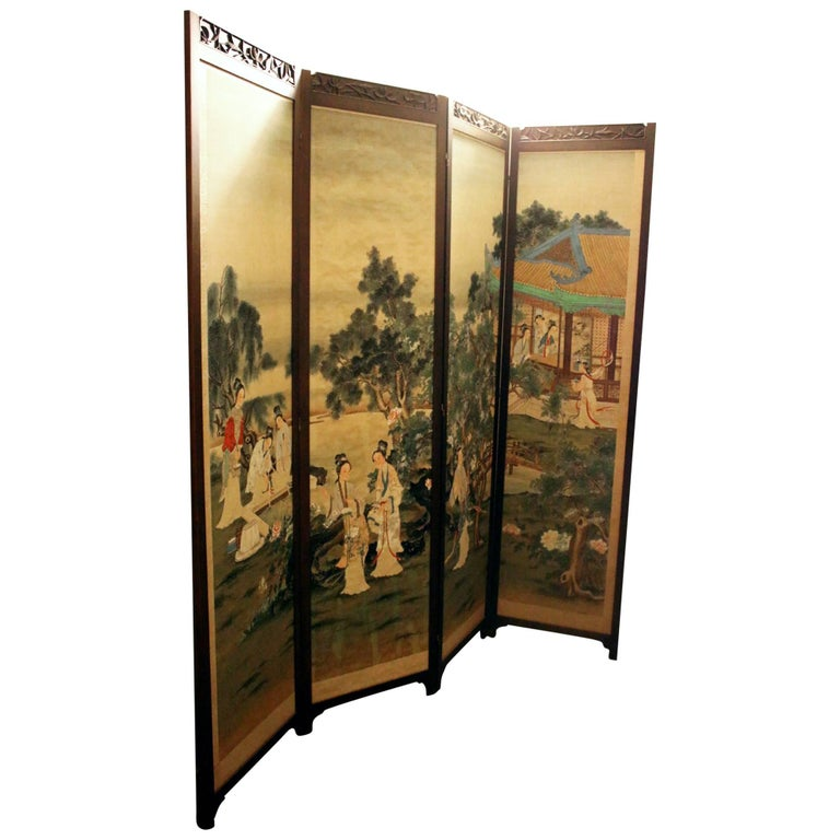 19th century Chinese Four-Panel Screen in Teak Wood Frame For Sale