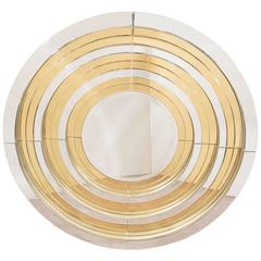 Chrome and Brass Round Mirror in the Manner of Karl Springer