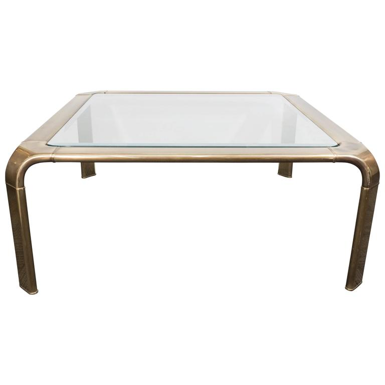 1970s Brass and Glass Waterfall Coffee Table by John Widdicomb 1