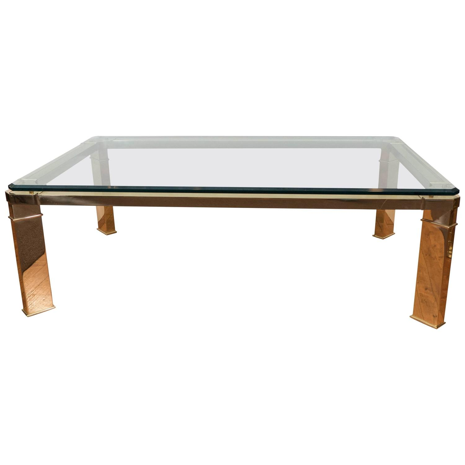 Leon Rosen Floating Glass Coffee Table with Brass Fitting for