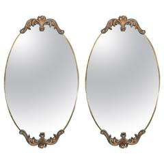 Mid-Century Pair of Italian Hollywood Regency Oval Mirrors