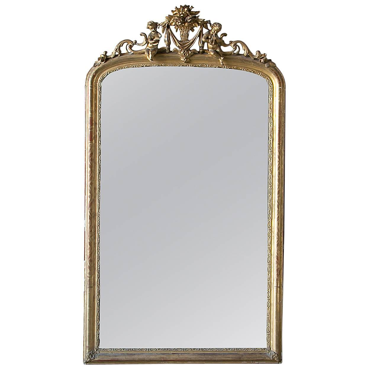 Antique louis xv french gilt mirror circa 1860 at 1stdibs for Vintage floor length mirror