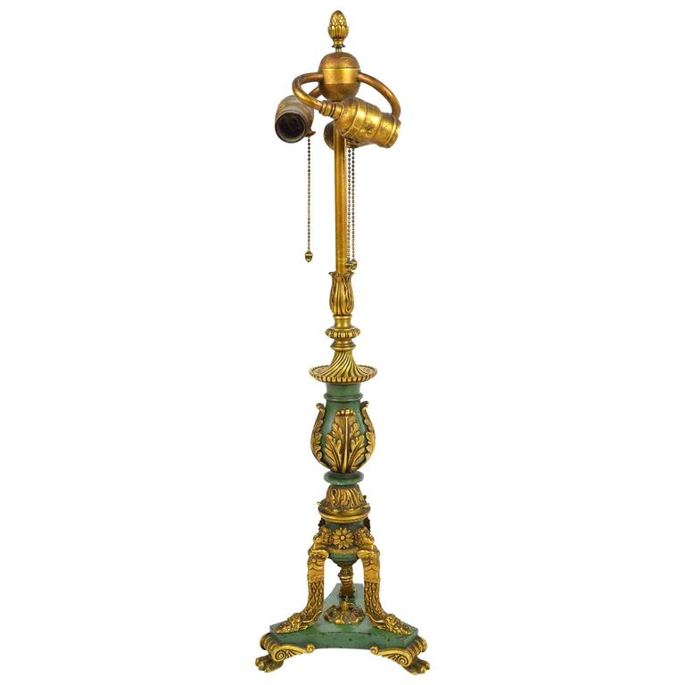 Empire Style Gilt Bronze and Painted Table Lamp