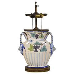 1920s Italian Handmade Pottery Lamp