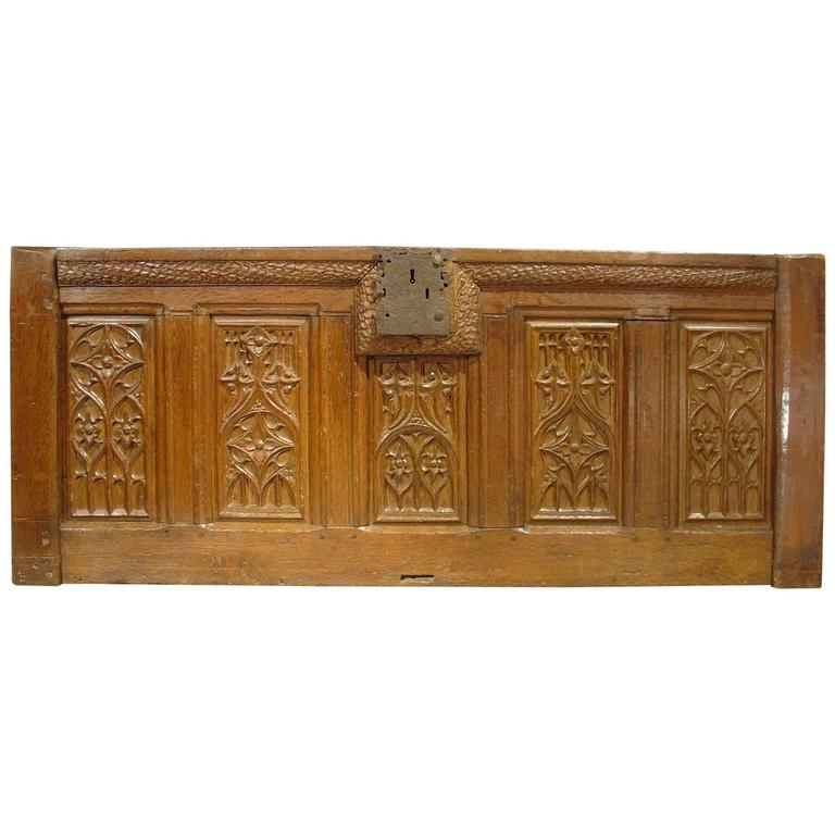 Period Gothic Trunk Frontage from Picardie France, Oak, circa 1500