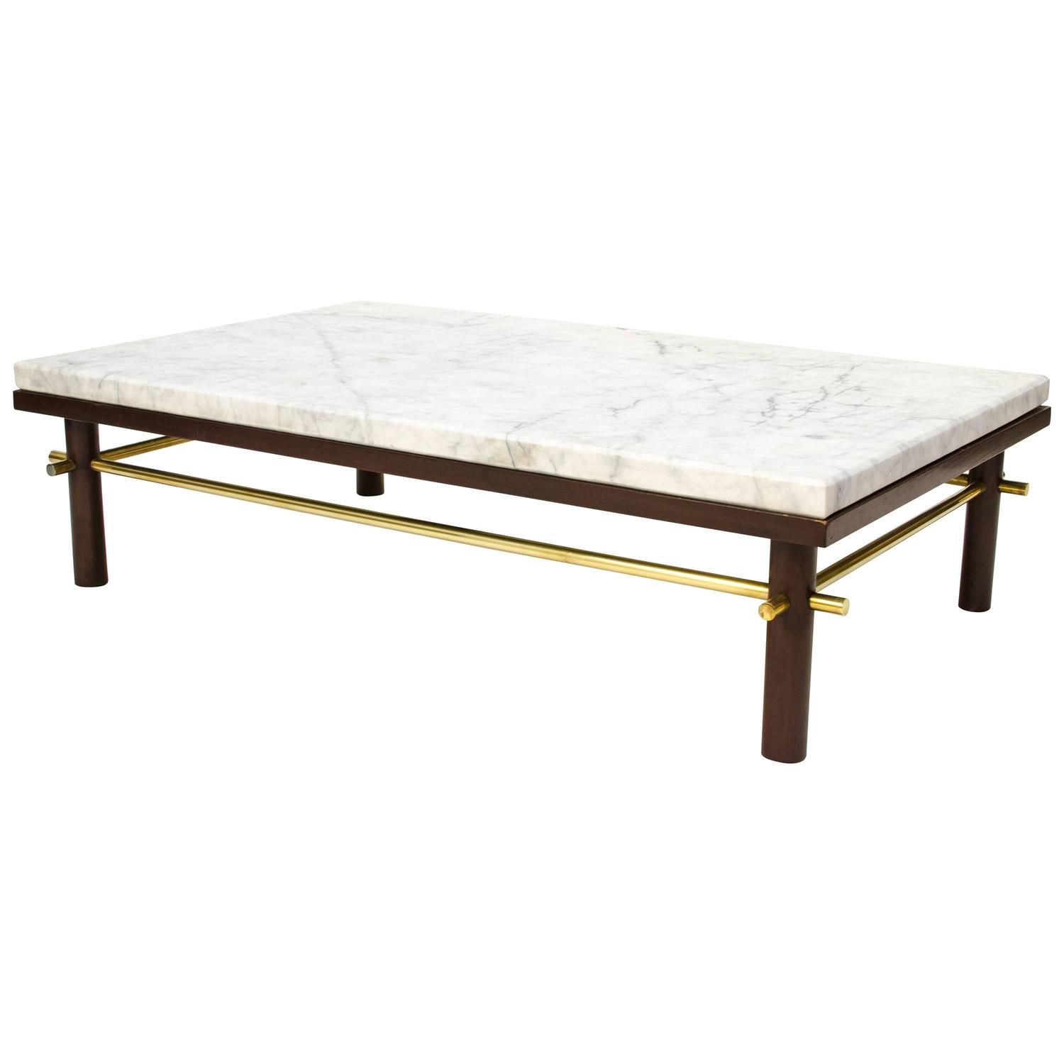 1950s Brass And Marble Coffee Table In The Manner Of Harvey Probber At 1stdibs