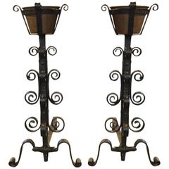 Pair of French 18th Century Andirons with Copper Vessels