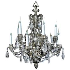 Antique French Louis XVI Style Silvered Bronze and Cut Rock Crystal Chandelier