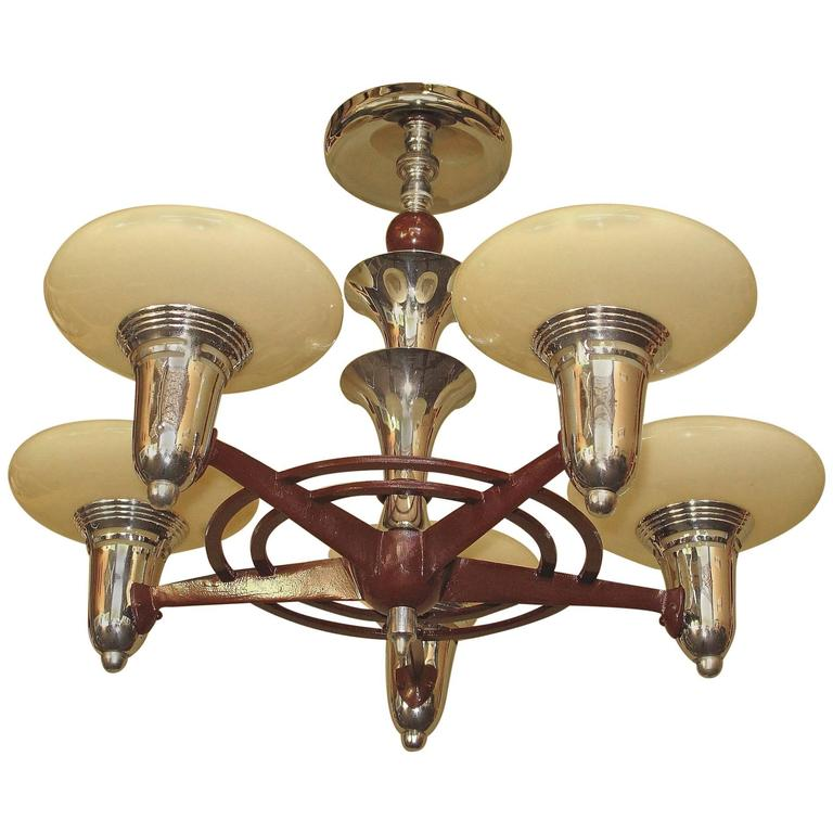 1930s Mid Century Semi Flush Mount Five Light Fixture For