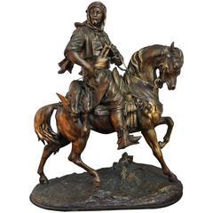 Antique French Spelter Orientalist Arab Huntsman on Horseback after E. Guillaume