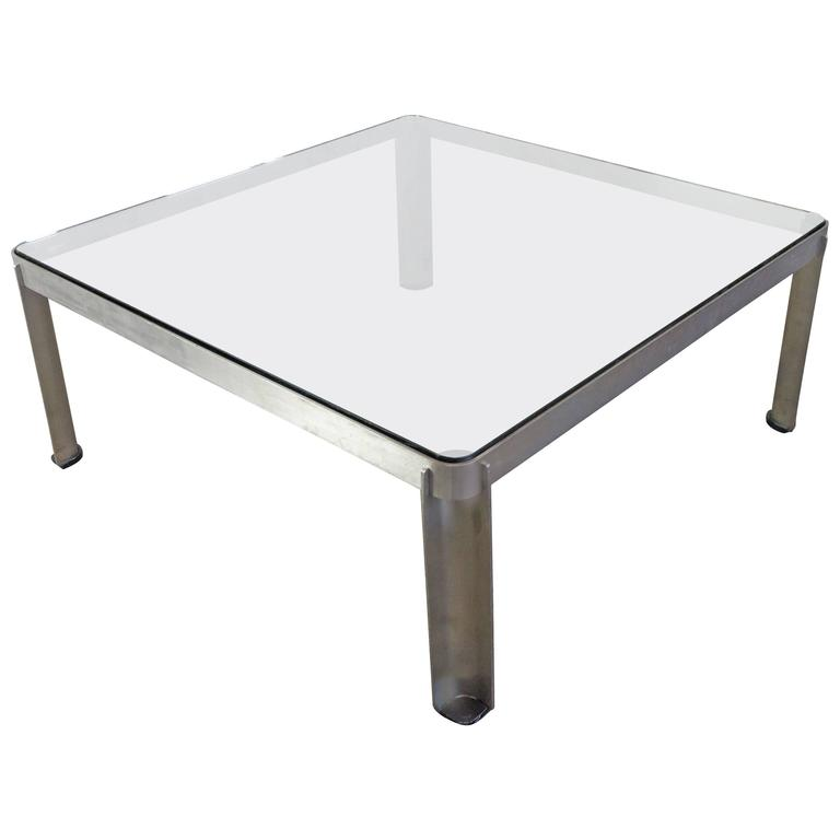Vintage French Aluminum and Glass Coffee Table