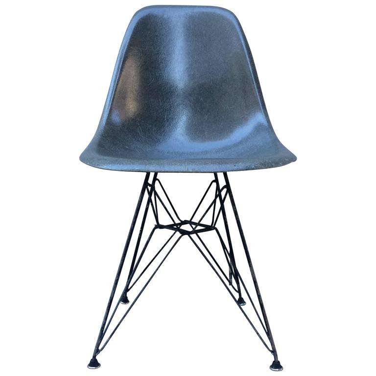 herman miller eames elephant hide grey dsr chair for sale. Black Bedroom Furniture Sets. Home Design Ideas
