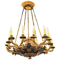 19th Century Gilt Bronze French Charles X Fifteen-Light Chandelier