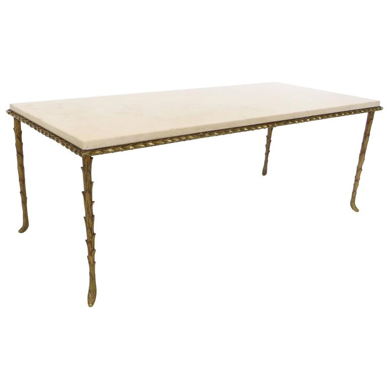 French Gilt Coffee Table: French Maison Bagues Gilt Bronze And Pale Marble Coffee