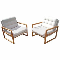Milo Baughman Sling, Scoop, Cube Armchairs Lounge in Oak for Thayer Coggin