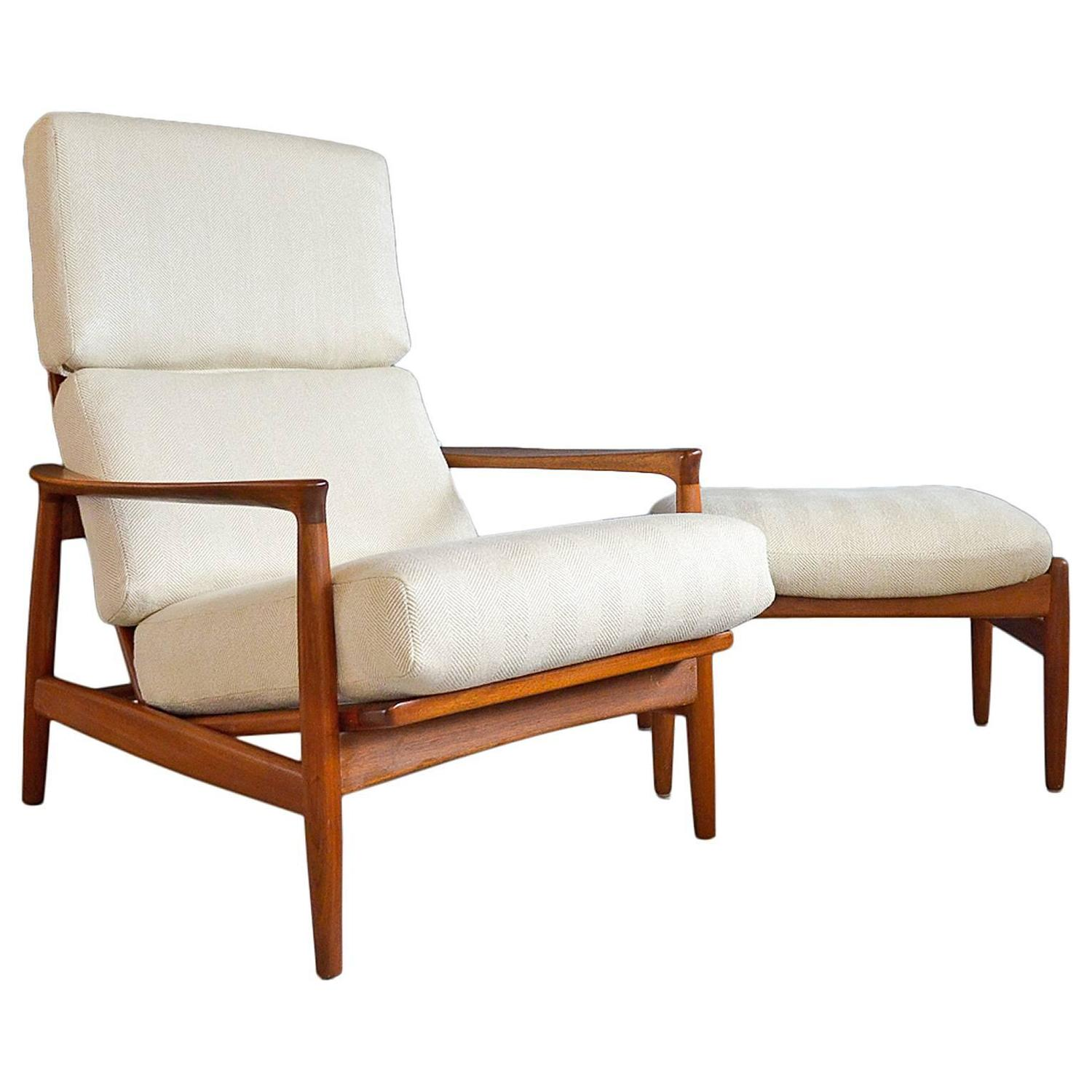 Folke Ohlsson for DUX Walnut Lounge Chair with Ottoman For
