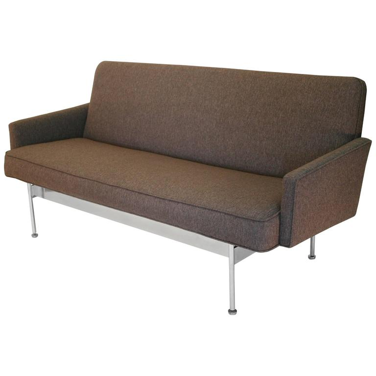 Mid Century Sofa or Settee with Exposed Chrome Frame at  : 3244132l from www.1stdibs.com size 768 x 768 jpeg 31kB