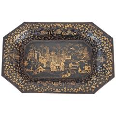 Chinese Laquer Papier Mâché Tray with Gilt Penwork