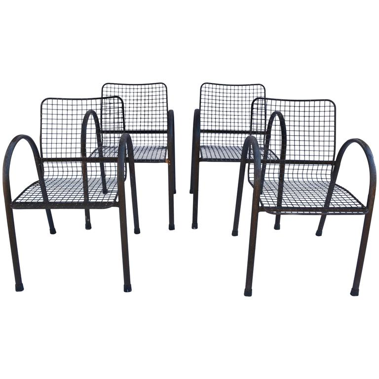 Four patio wrought iron mesh arm chairs for sale at 1stdibs for Mesh patio chairs
