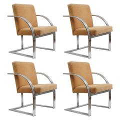 Set of Two or Four Deco Inspired Chairs by Milo Baughman for Thayer Coggin