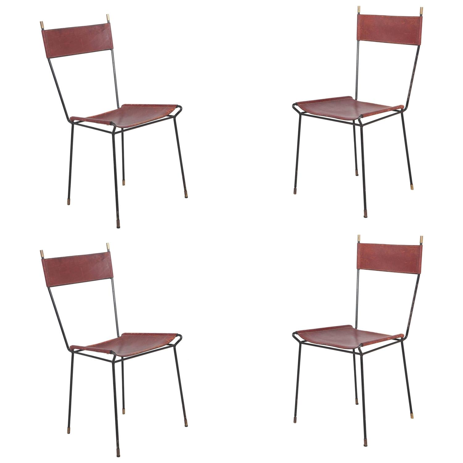Set Of Four Italian Leather And Metal Dining Chairs With Brass Caps At 1stdibs
