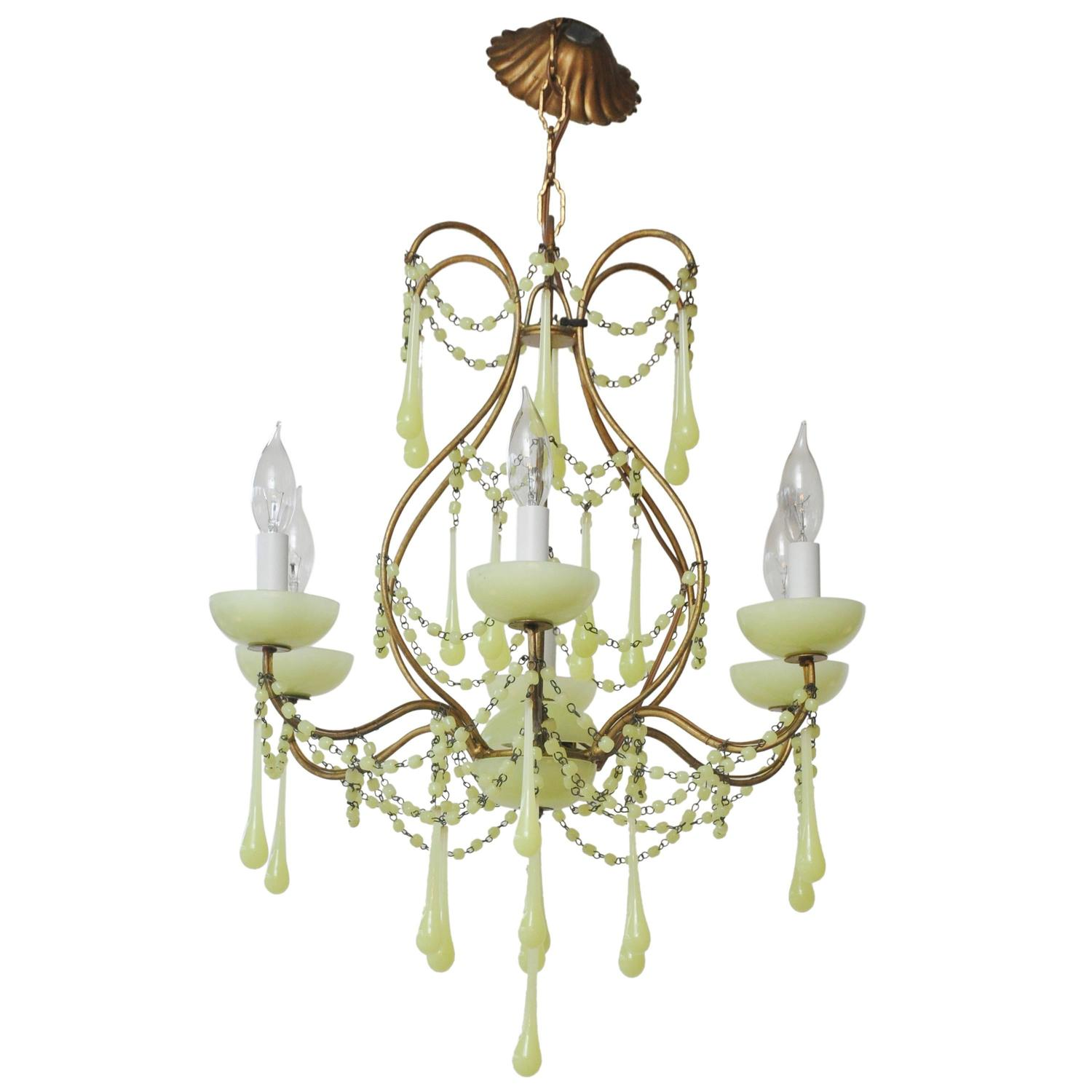 Yellow and green opaline glass chandelier at 1stdibs arubaitofo Images