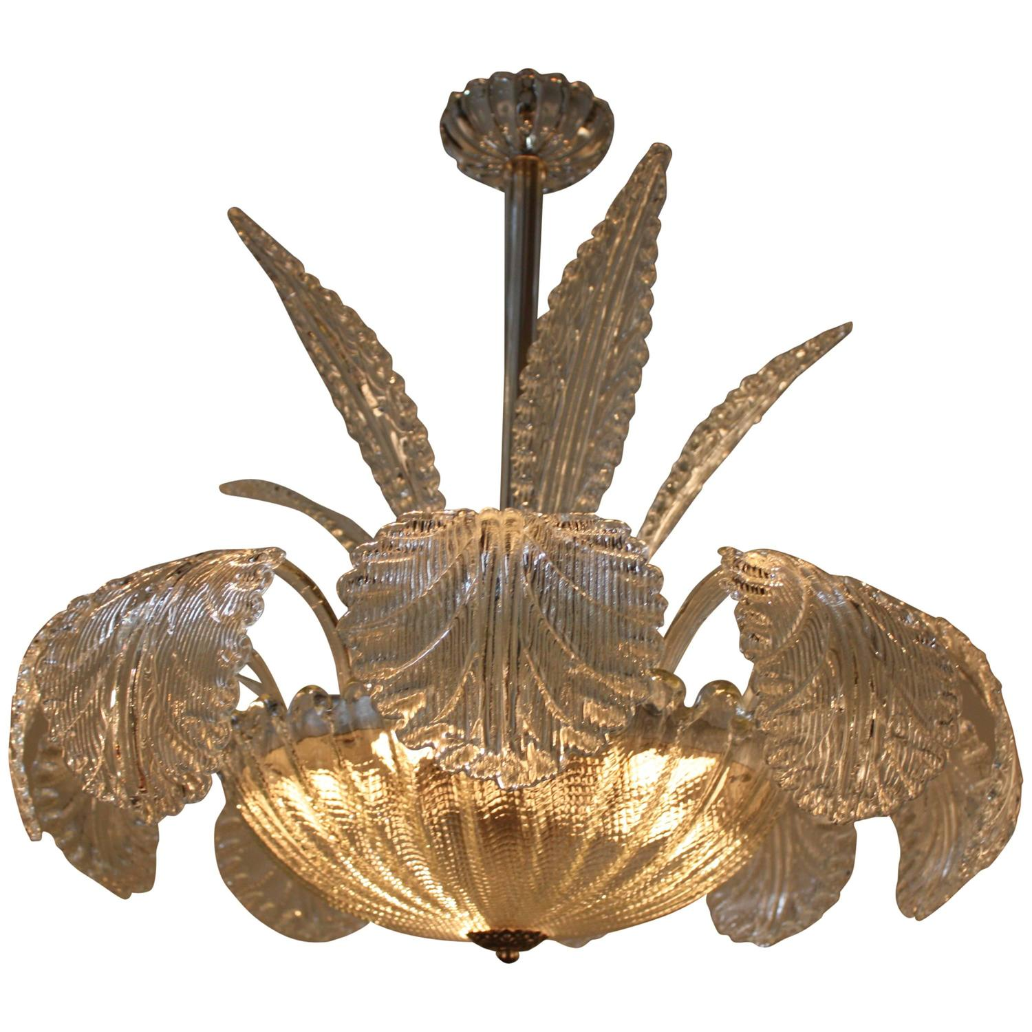 Mid Century Barovier and Toso Murano Glass Chandelier at 1stdibs