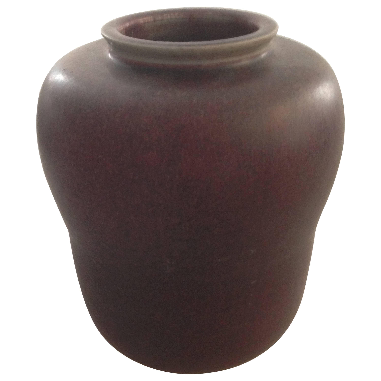 Royal Copenhagen Stoneware Vase by Carl Halier Unique with Sang de Boeuf Glaze