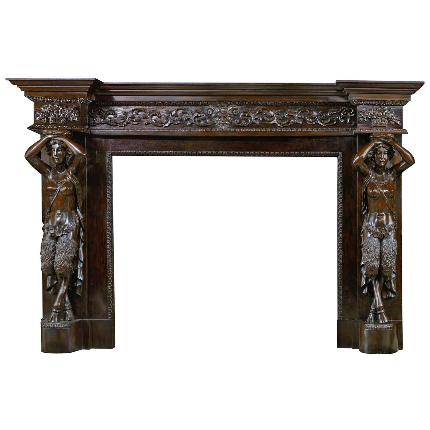louis xvi antique fireplace mantel carved in ebony