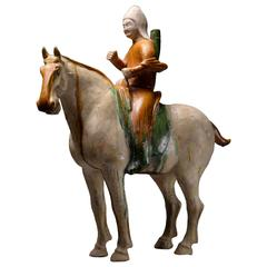 Ancient Chinese Tang Dynasty Sancai Glazed Pottery Horse & Archer Rider, 618 AD