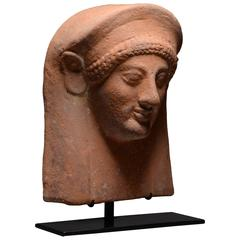 Ancient Greek Archaic Terracotta Female Protome, 550 BC