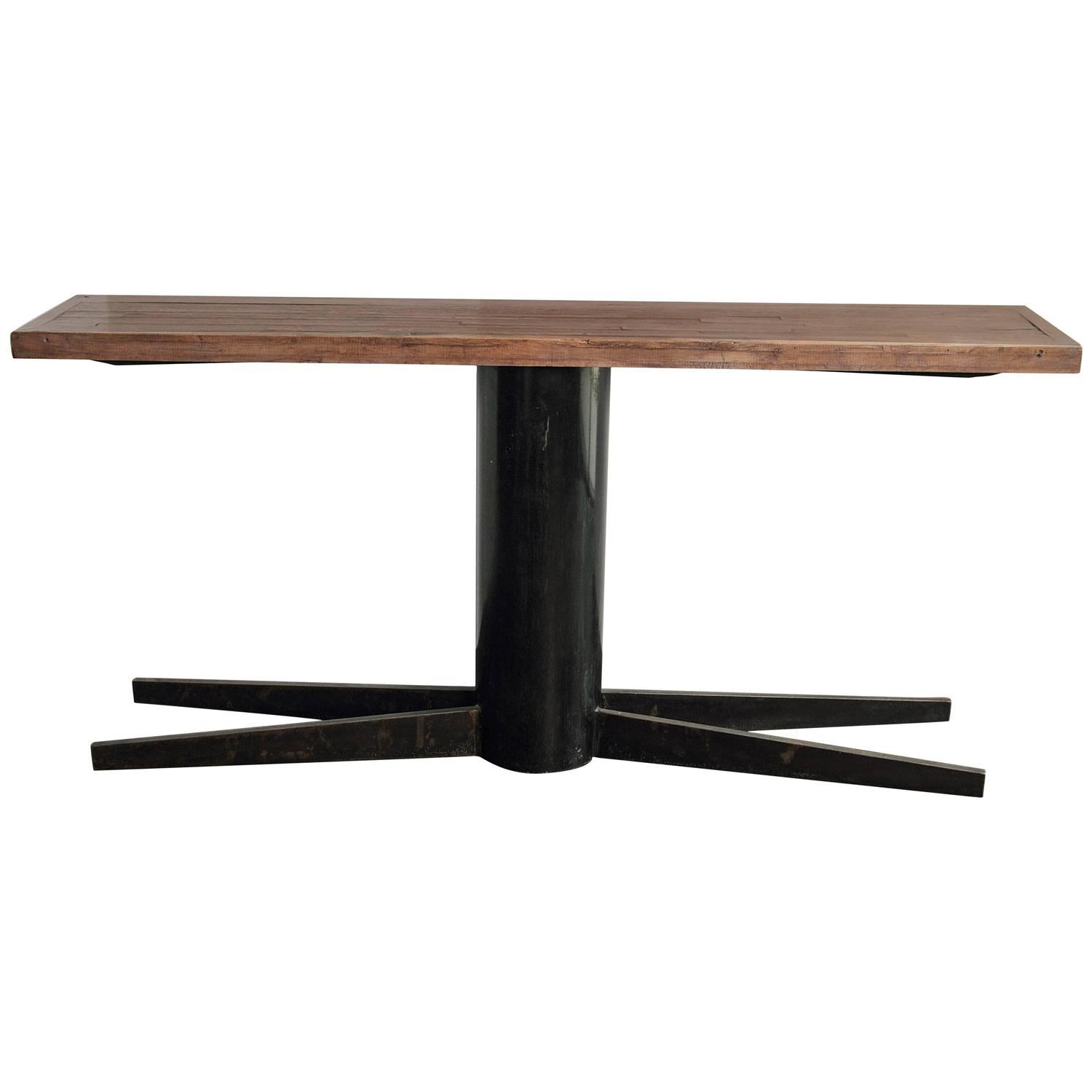 Industrial pedestal console tall sofa table 35 h for for 35 console table