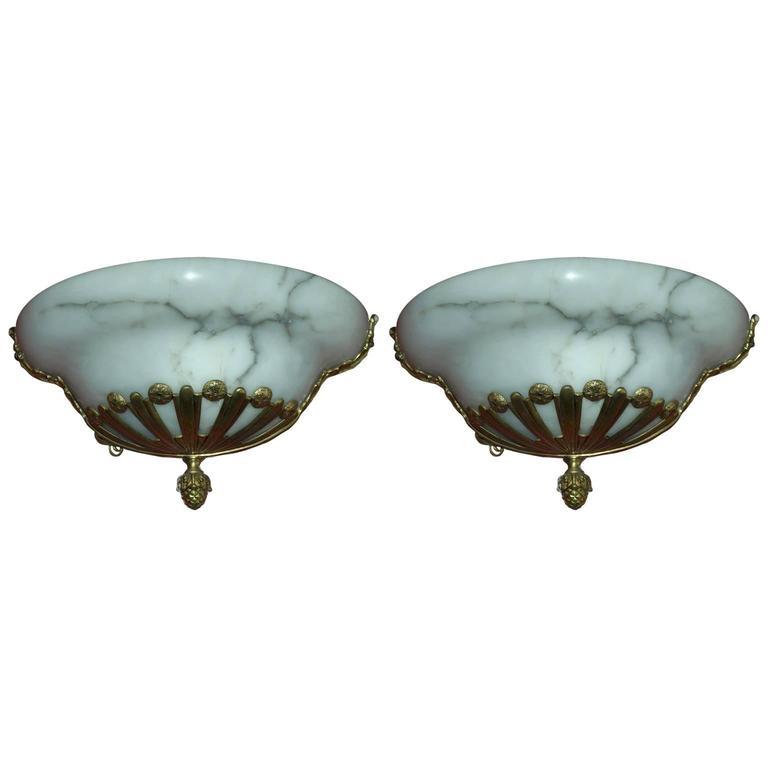 Antique Alabaster and Bronze Sconces For Sale