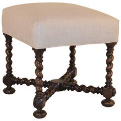 19th Century French Turned Upholstered Stool