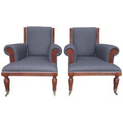 Pair of American Mahogany Upholstered Club Chairs, 20th Century