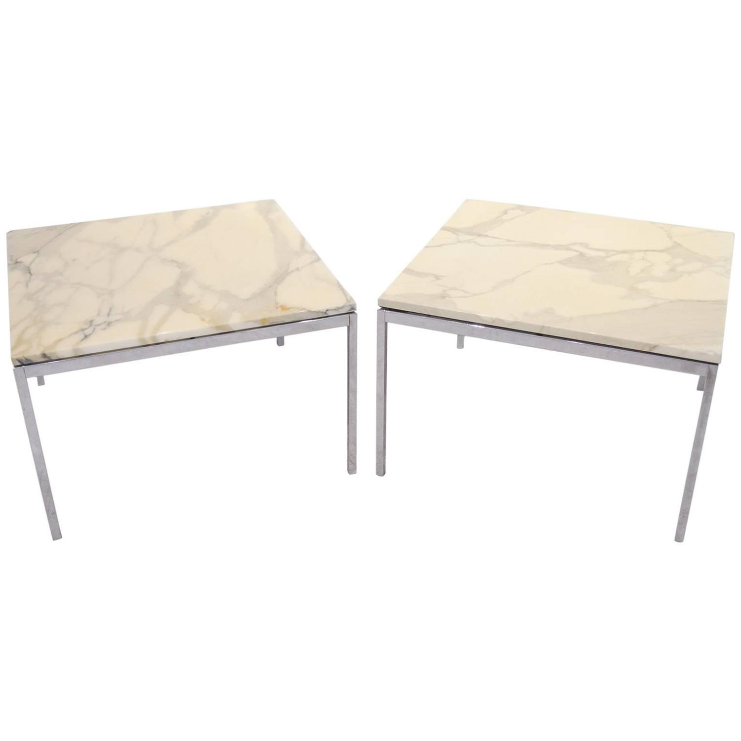 Pair Of Florence Knoll Marble And Chrome Side Or End Tables At 1stdibs