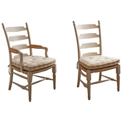 Set of 12 David Easton Ladder-Back Dining Chairs