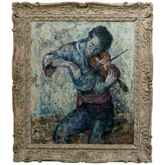 Violinist Painting by Denes Holesch