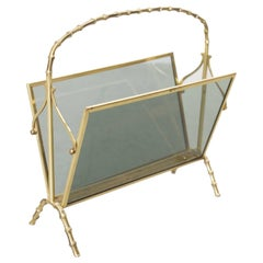 Maison Bagues Brass and Glass Faux Bamboo Magazine Rack
