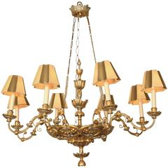 Austrian Neoclassical Silvered and Giltwood Eight-Light Chandelier