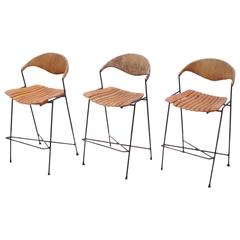 Set of Three Low Wrought Iron Arthur Umanoff Bar Stools