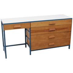 Rare Vista of California Steel Frame Desk or Vanity with Five Drawers
