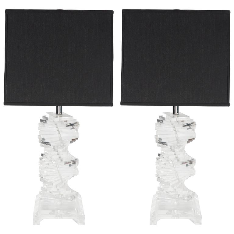 Ultra-Chic Pair of Stacked Lucite and Chrome Table Lamps