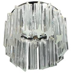 Mid-Century Modern Triedre Crystal and Chrome Flush Mount Chandelier