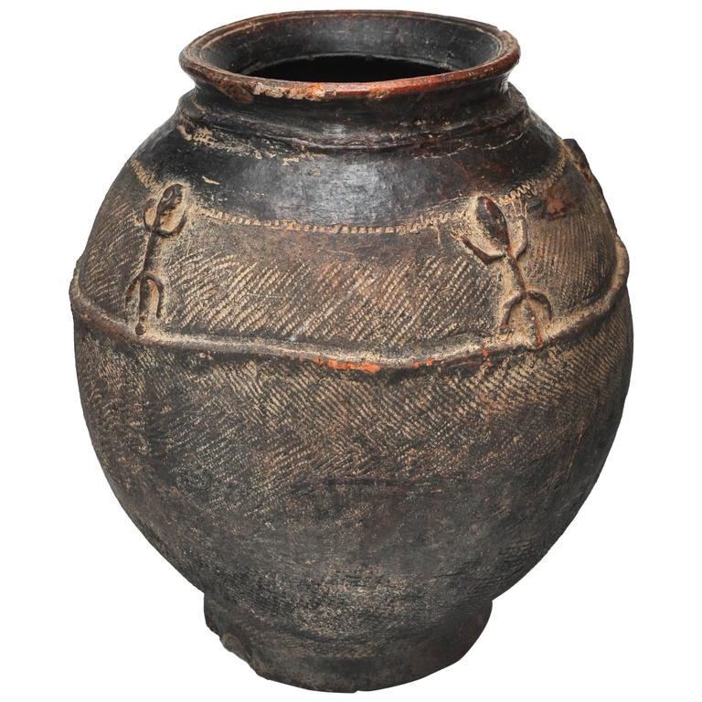 19th Century African Red Clay Water Pot from Mali
