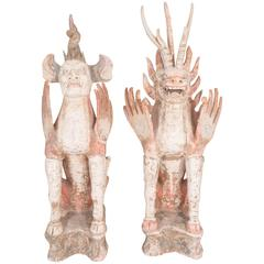 Pair of Tang Dynasty Pottery Tomb Sculptures of Earth Spirits