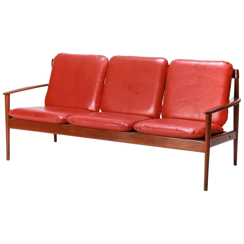 Early grete jalk sofa for p jeppesen teak and leather for P jeppesen furniture
