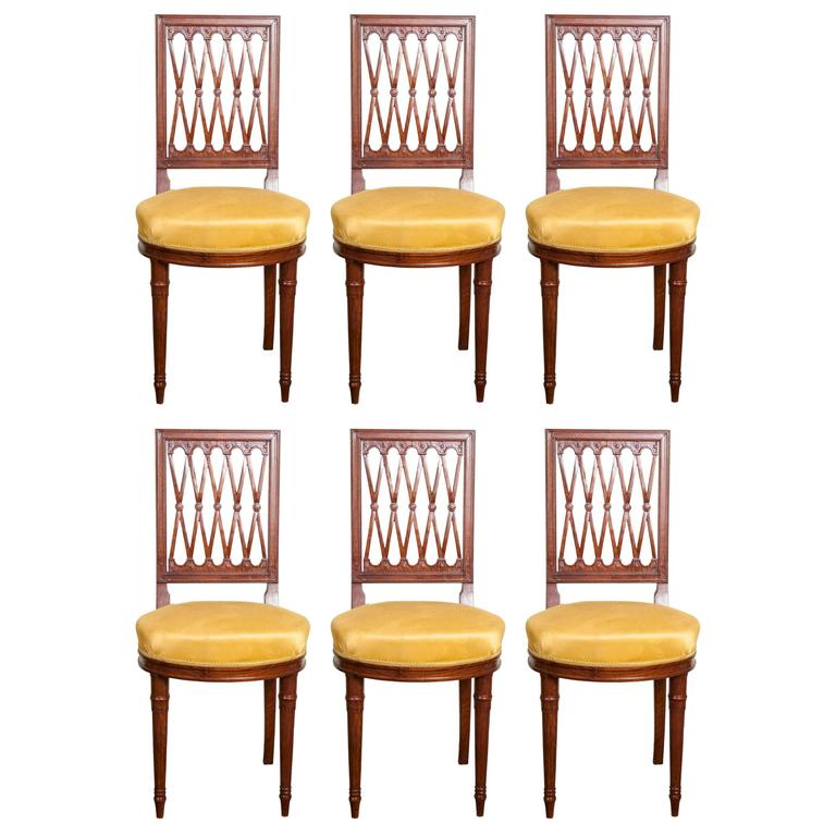 Set of Six Louis XVI Style Mahogany Side Chairs