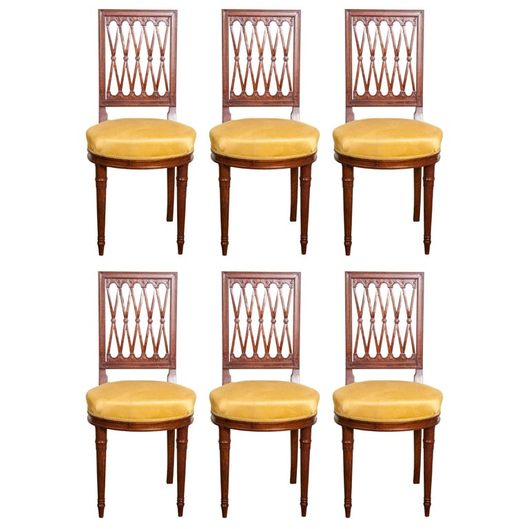 Set of Six Louis XVI Style Mahogany Side Chairs For Sale